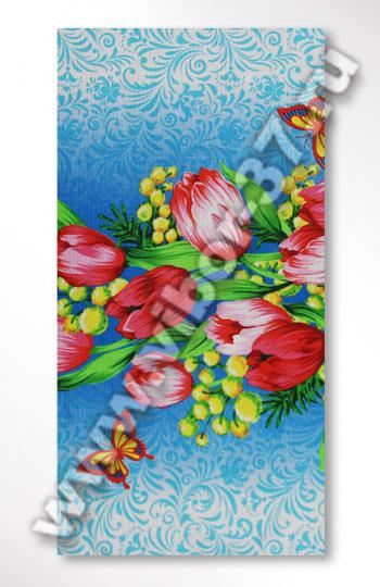 Вафельное полотенце с цветами